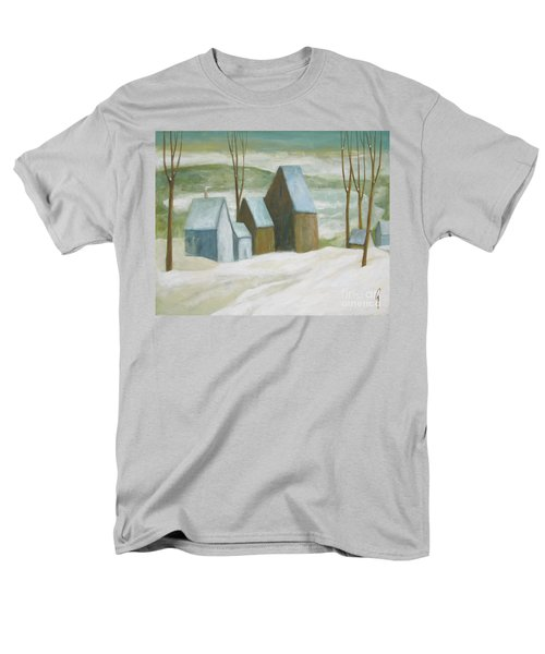Men's T-Shirt  (Regular Fit) featuring the painting Pond Farm In Winter by Glenn Quist