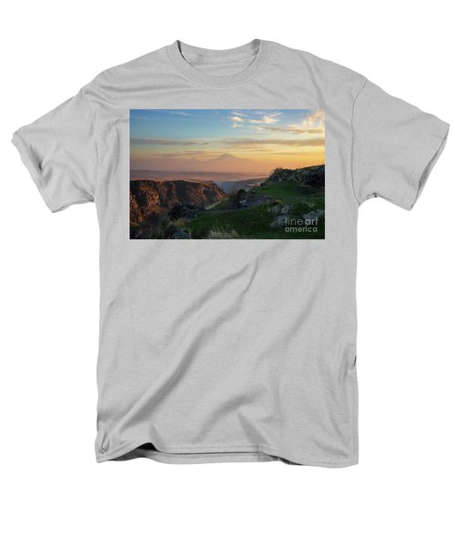Qasakh Gorge And Ararat Mountain At Golden Hour Men's T-Shirt  (Regular Fit) by Gurgen Bakhshetsyan