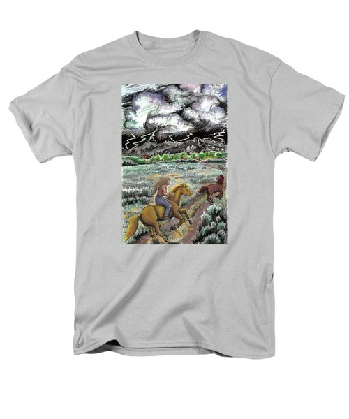 Men's T-Shirt  (Regular Fit) featuring the drawing Racing The Lightning Home by Dawn Senior-Trask