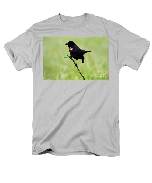 Men's T-Shirt  (Regular Fit) featuring the photograph Red Winged Blackbird by Alyce Taylor