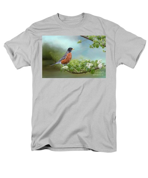 Men's T-Shirt  (Regular Fit) featuring the photograph Robin In Chinese Fringe Tree by Bonnie Barry