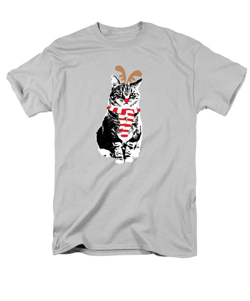 Men's T-Shirt  (Regular Fit) featuring the mixed media Rudolph The Red Nosed Cat- Art By Linda Woods by Linda Woods