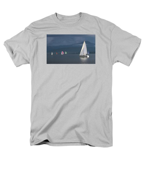 Sailing Boats By Stormy Weather, Geneva Lake, Switzerland Men's T-Shirt  (Regular Fit) by Elenarts - Elena Duvernay photo
