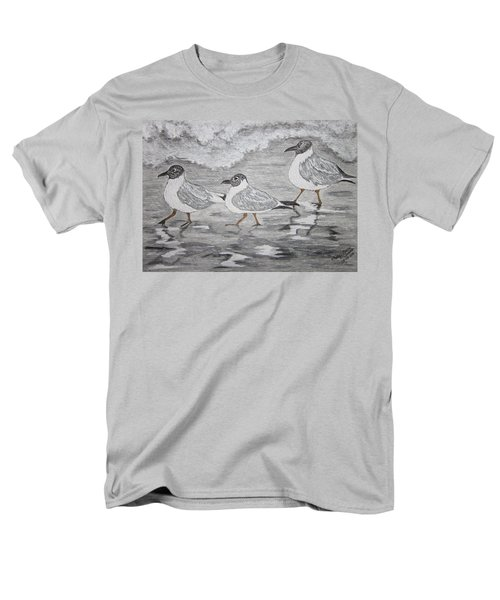 Men's T-Shirt  (Regular Fit) featuring the painting Sea Gulls Dodging The Ocean Waves by Kathy Marrs Chandler