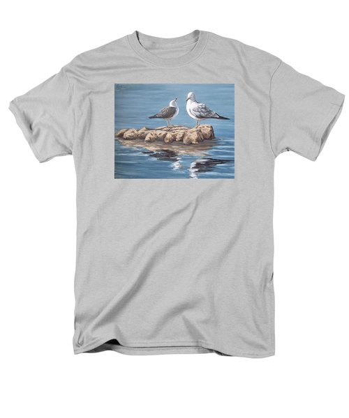 Men's T-Shirt  (Regular Fit) featuring the painting Seagulls In The Sea by Natalia Tejera