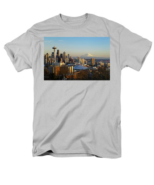 Seattle Cityscape Men's T-Shirt  (Regular Fit) by Greg Vaughn - Printscapes