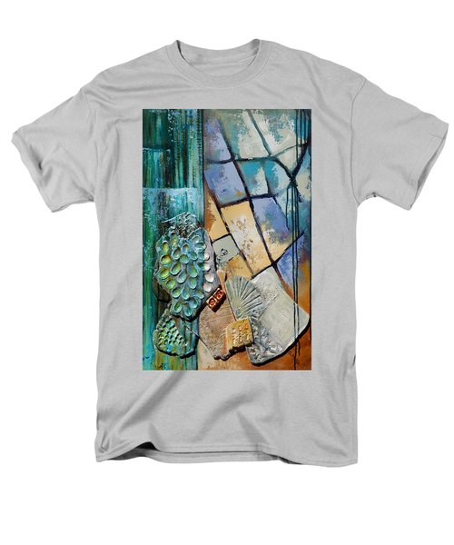 Men's T-Shirt  (Regular Fit) featuring the painting Shards Water Clay And Fire by Suzanne McKee