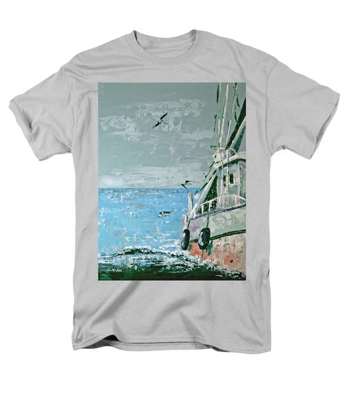 Men's T-Shirt  (Regular Fit) featuring the painting Shrimp Boat In The Gulf by Suzanne McKee