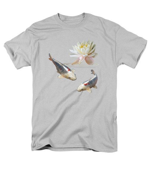 Silver And Red Koi With Water Lily Men's T-Shirt  (Regular Fit) by Gill Billington