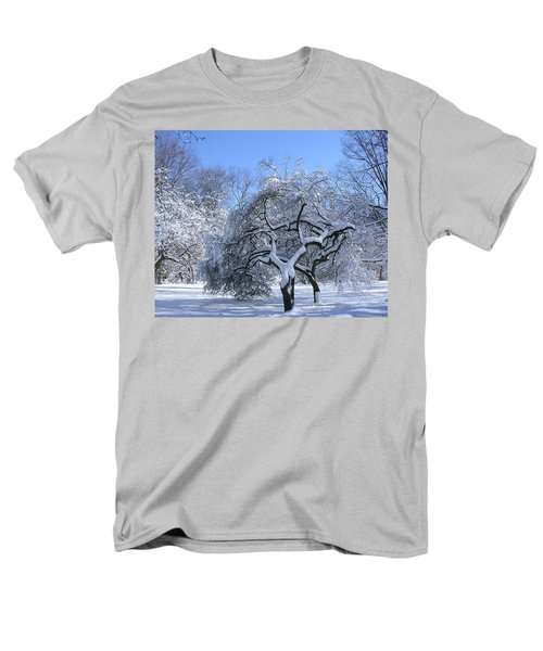 Men's T-Shirt  (Regular Fit) featuring the photograph Snow-covered Sunlit Apple Trees by Byron Varvarigos