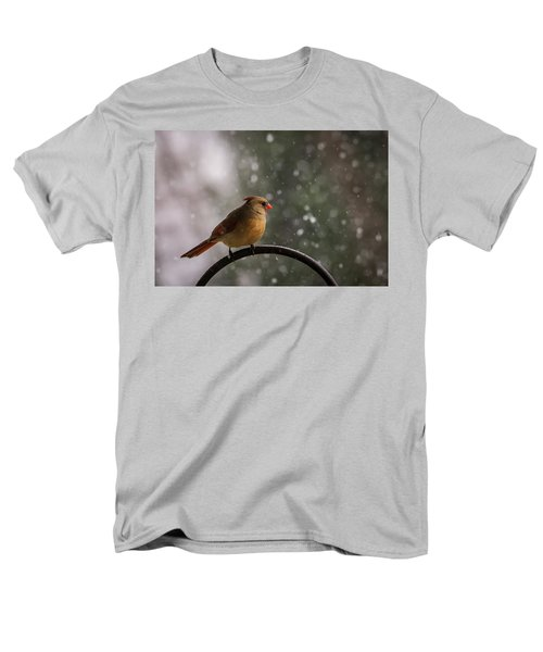 Men's T-Shirt  (Regular Fit) featuring the photograph Snow Showers Female Northern Cardinal by Terry DeLuco