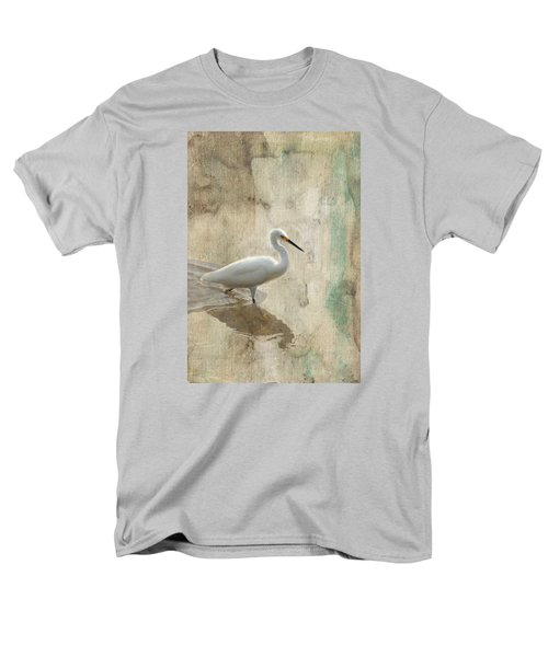 Men's T-Shirt  (Regular Fit) featuring the mixed media Snowy Egret In Grunge by Rosalie Scanlon