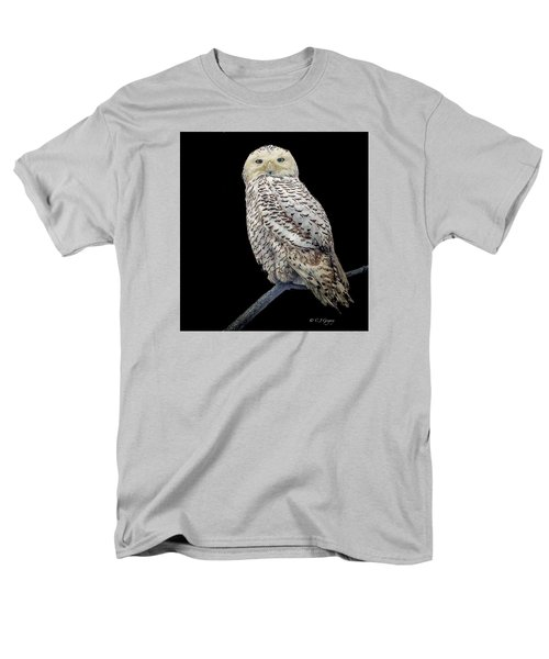 Snowy Owl On Black Men's T-Shirt  (Regular Fit) by Constantine Gregory