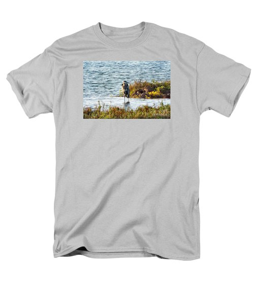 Solitary Heron Men's T-Shirt  (Regular Fit) by Audrey Van Tassell