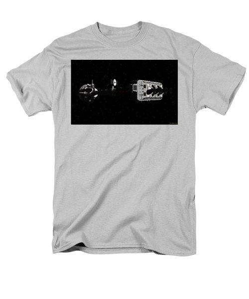 Men's T-Shirt  (Regular Fit) featuring the digital art Spaceship Uss Cumberland Traveling Through Deep Space by David Robinson