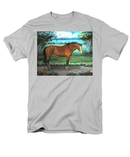 Men's T-Shirt  (Regular Fit) featuring the painting Stallion Portrait by Dawn Senior-Trask