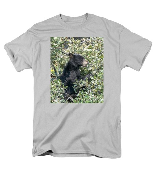 Startled Black Bear Cub Men's T-Shirt  (Regular Fit) by Stephen  Johnson