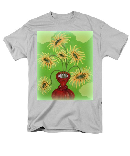 Sunflowers On Green Men's T-Shirt  (Regular Fit) by Marie Schwarzer
