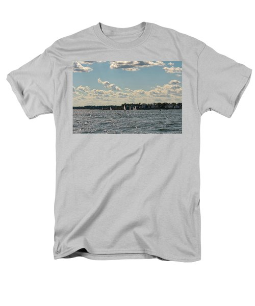 Men's T-Shirt  (Regular Fit) featuring the photograph Sunlit Sailboats Norwalk Connecticut From The Water by Marianne Campolongo