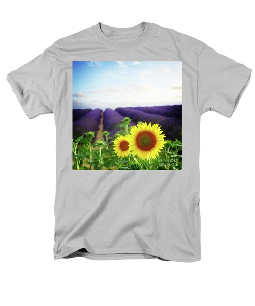 Sunrise Over Sunflower And Lavender Field Men's T-Shirt  (Regular Fit) by Anastasy Yarmolovich