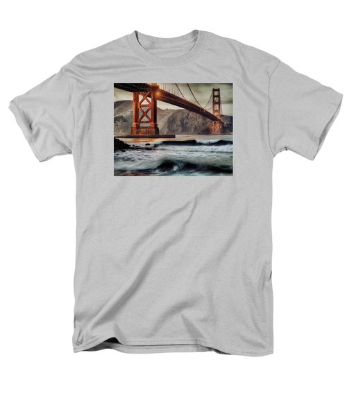 Surfing The Shadows Of The Golden Gate Bridge Men's T-Shirt  (Regular Fit) by Steve Siri