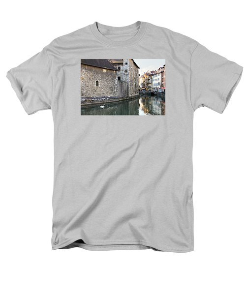 Men's T-Shirt  (Regular Fit) featuring the photograph Swan In Annecy France Canal by Katie Wing Vigil