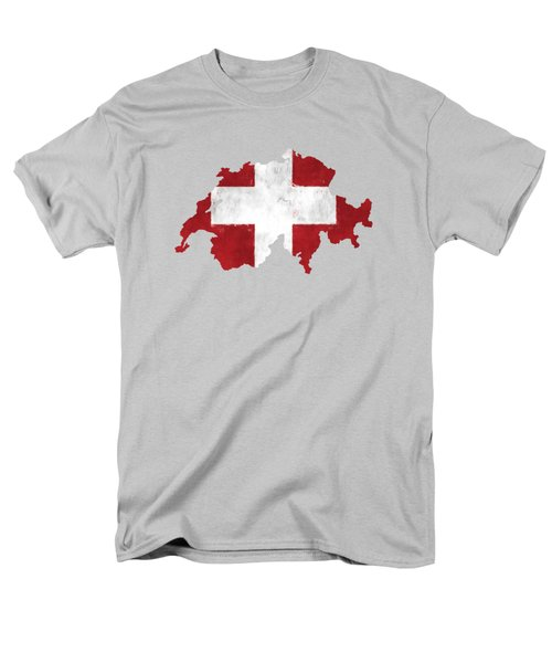Switzerland Map Art With Flag Design Men's T-Shirt  (Regular Fit) by World Art Prints And Designs
