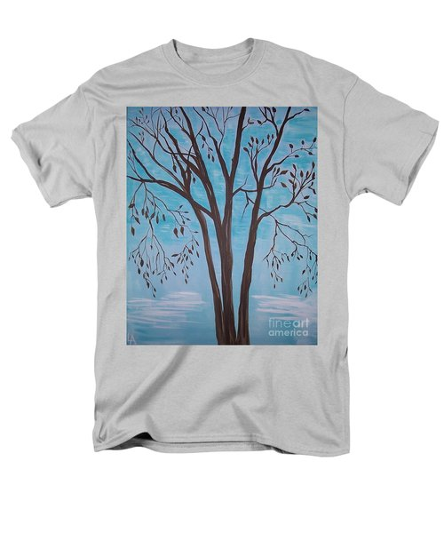 Men's T-Shirt  (Regular Fit) featuring the painting Teal And Brown by Leslie Allen