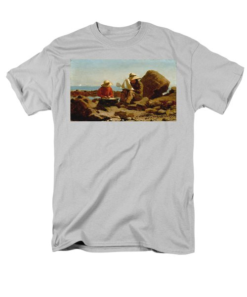 Men's T-Shirt  (Regular Fit) featuring the painting The Boat Builders - 1873 by Winslow Homer