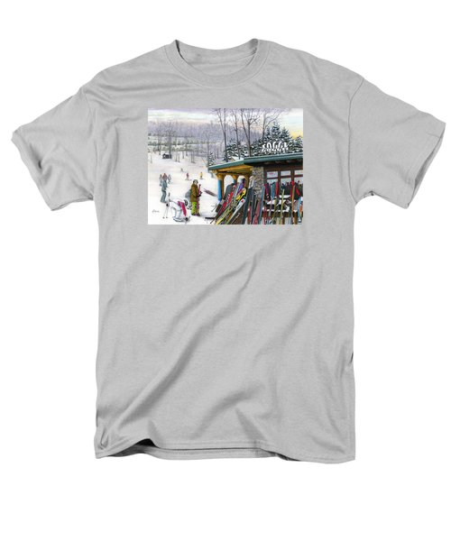 Men's T-Shirt  (Regular Fit) featuring the painting The Foggy Goggle At Seven Springs by Albert Puskaric