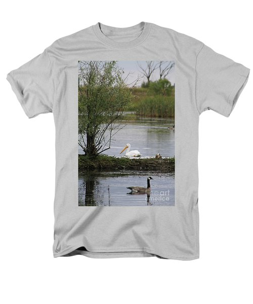 Men's T-Shirt  (Regular Fit) featuring the photograph The Goose And The Pelican by Alyce Taylor