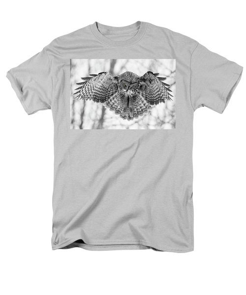 Men's T-Shirt  (Regular Fit) featuring the photograph The Great Grey Owl In Black And White by Mircea Costina Photography