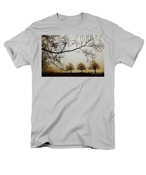 Men's T-Shirt  (Regular Fit) featuring the photograph Three Cypress In The Mist by Iris Greenwell