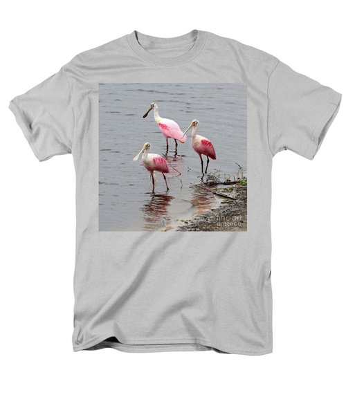 Three Roseate Spoonbills Square Men's T-Shirt  (Regular Fit) by Carol Groenen