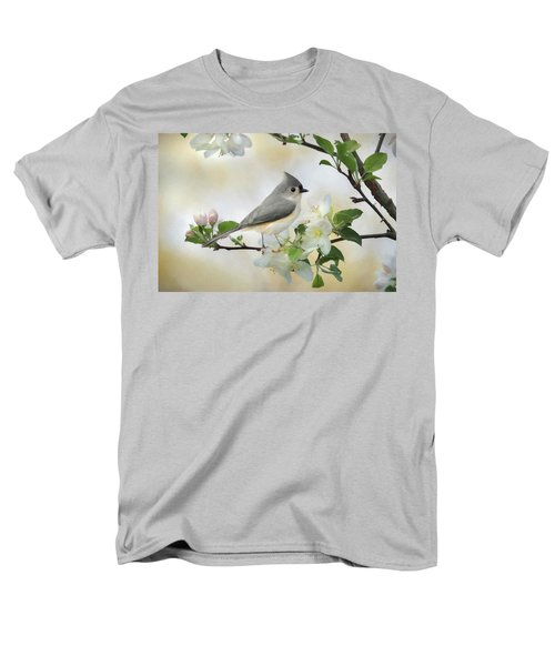 Men's T-Shirt  (Regular Fit) featuring the mixed media Titmouse In Blossoms 1 by Lori Deiter