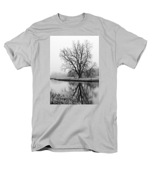 Tree Reflection In The Fox River On A Foggy Day Men's T-Shirt  (Regular Fit)