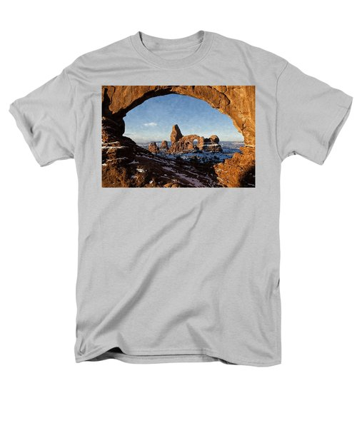 Men's T-Shirt  (Regular Fit) featuring the digital art Turret Arch by Kai Saarto