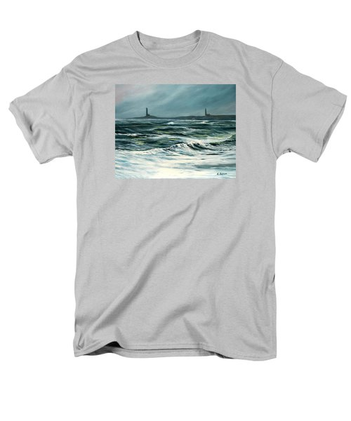 Twin Lights Rockport Ma Men's T-Shirt  (Regular Fit) by Eileen Patten Oliver