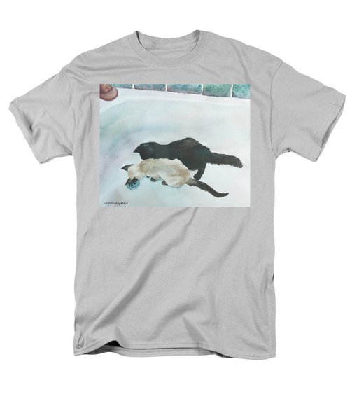 Men's T-Shirt  (Regular Fit) featuring the painting Two Cats In A Tub by Anne Gifford