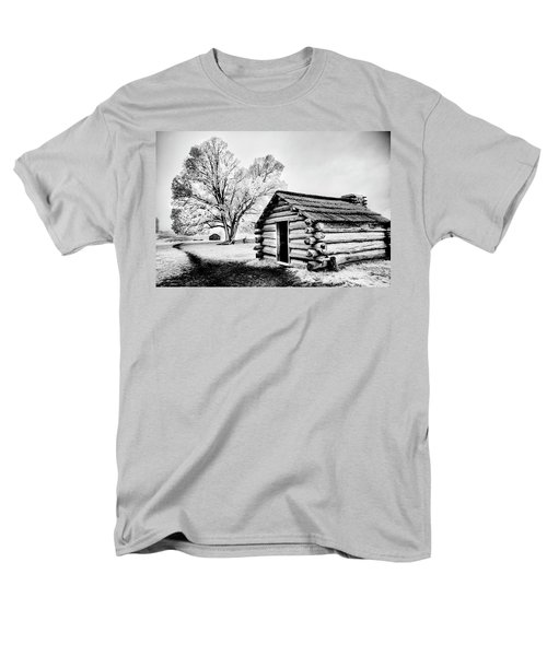 Men's T-Shirt  (Regular Fit) featuring the photograph Valley Forge Winter Troops Hut                           by Paul W Faust - Impressions of Light