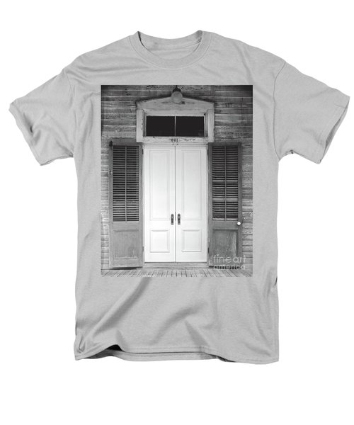 Men's T-Shirt  (Regular Fit) featuring the photograph Vintage Tropical Weathered Key West Florida Doorway by John Stephens