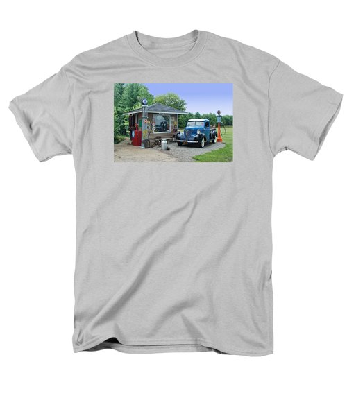 Men's T-Shirt  (Regular Fit) featuring the photograph Vintage Truck And Filling Station by Judy  Johnson