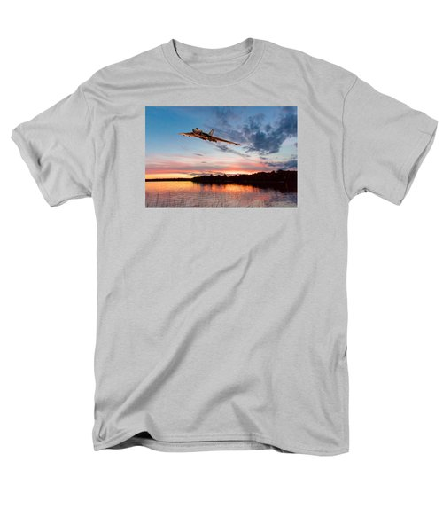 Men's T-Shirt  (Regular Fit) featuring the digital art Vulcan Low Over A Sunset Lake by Gary Eason