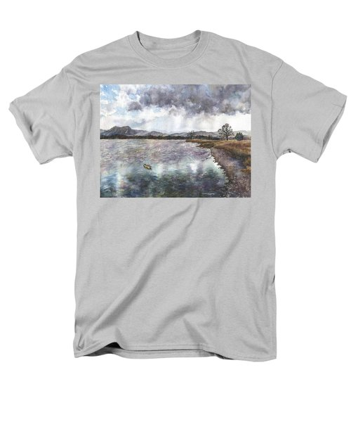 Men's T-Shirt  (Regular Fit) featuring the painting Walden Ponds On An April Evening by Anne Gifford