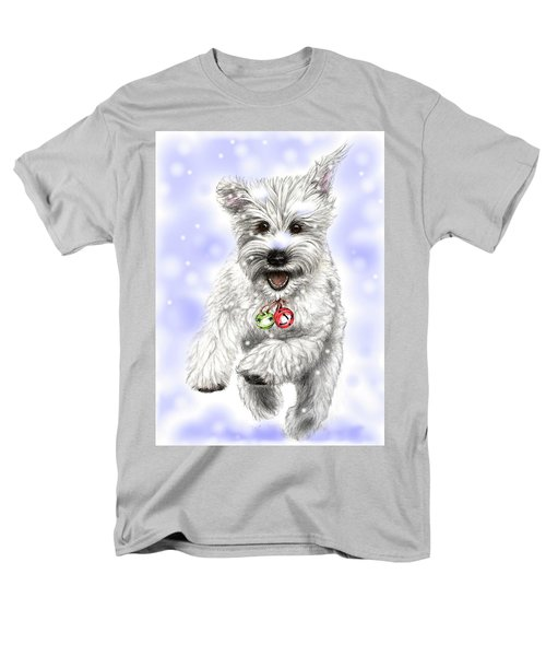 Men's T-Shirt  (Regular Fit) featuring the drawing White Christmas Doggy by Heidi Kriel