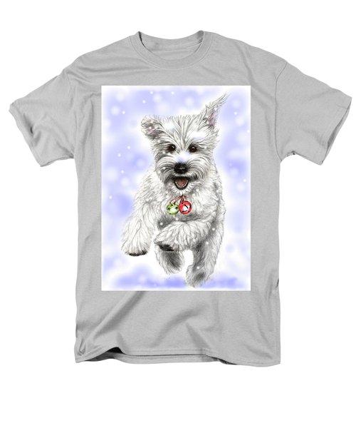 White Christmas Doggy Men's T-Shirt  (Regular Fit) by Heidi Kriel
