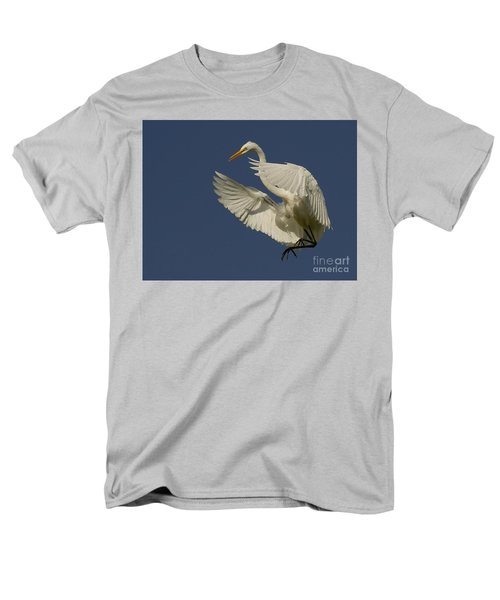 Men's T-Shirt  (Regular Fit) featuring the photograph White Egret Flight by Myrna Bradshaw