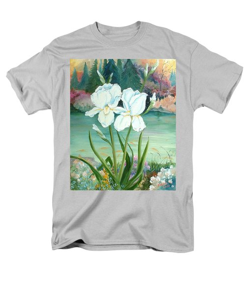 Men's T-Shirt  (Regular Fit) featuring the painting White Iris Love by Renate Nadi Wesley