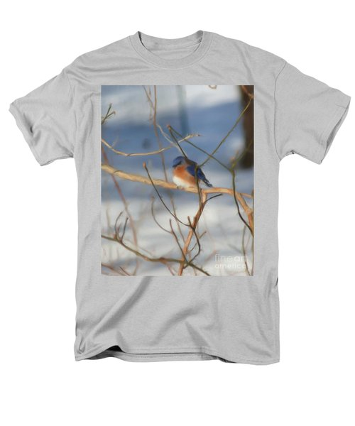 Men's T-Shirt  (Regular Fit) featuring the painting Winter Bluebird Art by Smilin Eyes  Treasures