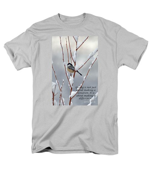 Men's T-Shirt  (Regular Fit) featuring the photograph Winter Chickadee Giving by Diane E Berry